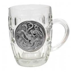 Game of thrones: Targaryen Crystal Stein with metallic logo
